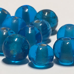 Transparent Blue Glass Round Lampwork Beads, 5-7 mm, 12 Beads