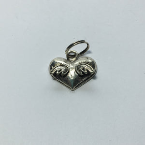 Antique Silver Heart with Wings Charm 18 x 15 mm