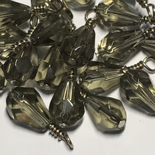 Load image into Gallery viewer, Transparent Gray Briolette Glass Beads, 20 x 11 mm, With Wire Wrapped Head Pins, 22 Beads