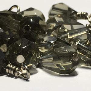 Transparent Gray Briolette Glass Beads, 20 x 11 mm, With Wire Wrapped Head Pins, 22 Beads