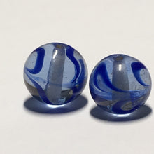 Load image into Gallery viewer, Transparent Blue Glass with Dark Blue Swirl Round Glass Lampwork Beads, 10 mm, 2 Beads