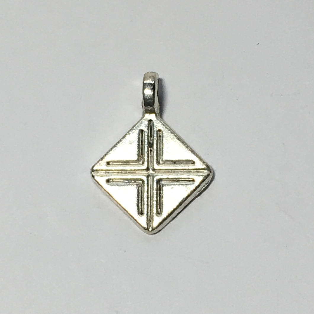Silver Diamond Charm 18 x 14 mm
