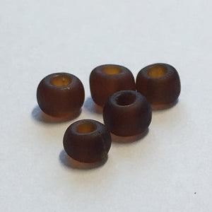 6/0 Frosted Chocolate Brown Glass Seed Beads, 2.9 gm