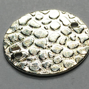 Silver Textured Round Disc Connectors 2-Holes 15 mm - 20 Connectors