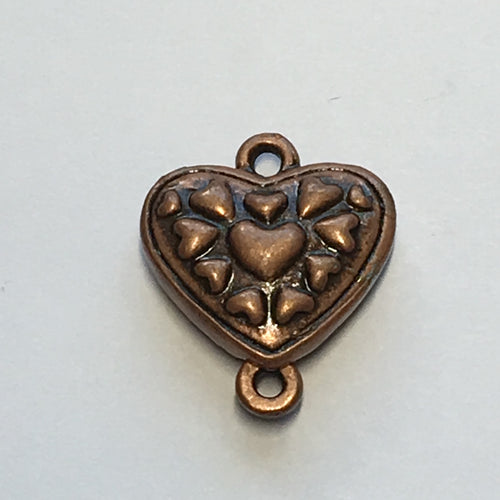 Antique Copper Finish Heart Theme Magnetic Clasp, 19 x 16 mm