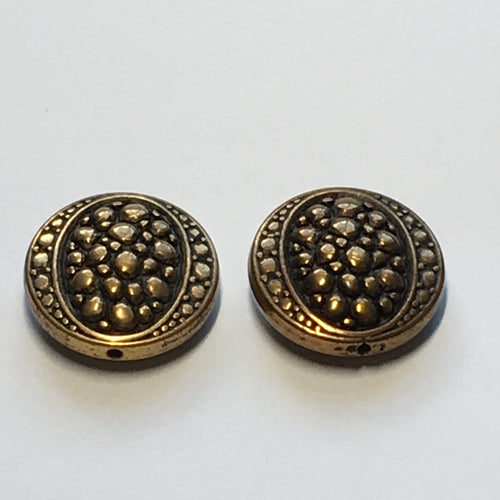 Vintage Antique Gold Metal Coin Beads, 22 mm, 2 Beads