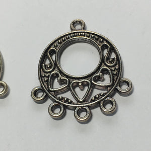 Antique Silver Heart Theme Chandelier Earring Components, 25 x 22 mm - 1 pair