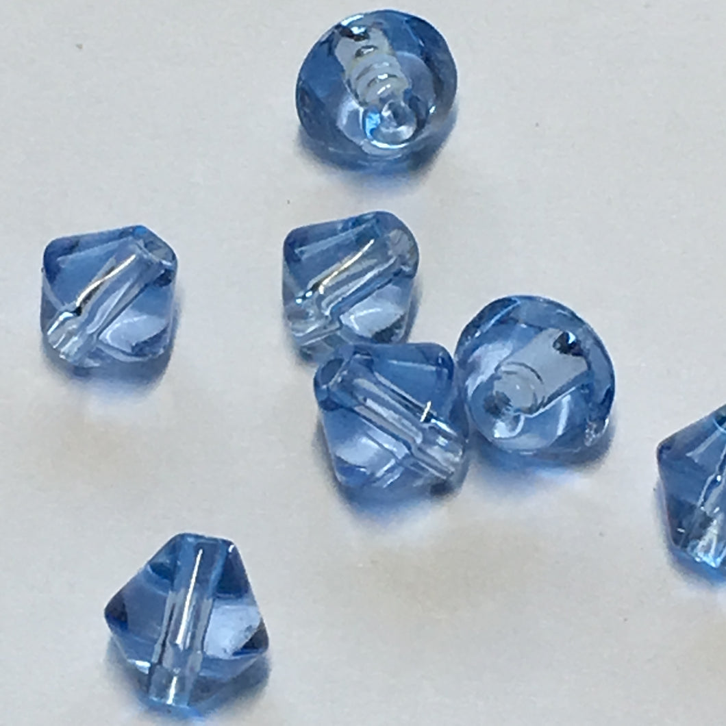 Transparent Blue Glass Bicone Beads, 6 mm, 7 Beads
