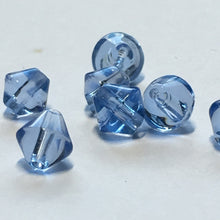 Load image into Gallery viewer, Transparent Blue Glass Bicone Beads, 6 mm, 7 Beads