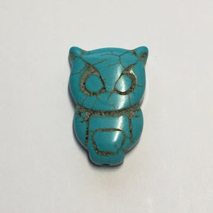 Reconstituted Stone Turquoise Owl, Top Drilled, Focal Bead, 20 x 30 mm