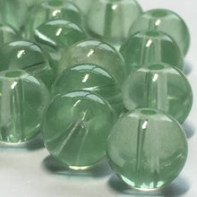 Load image into Gallery viewer, Transparent Light Green Round Glass Beads, 8 mm, 17 Beads