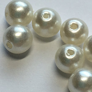 White Pearl Round Acrylic Beads, 6 mm - 16 Beads