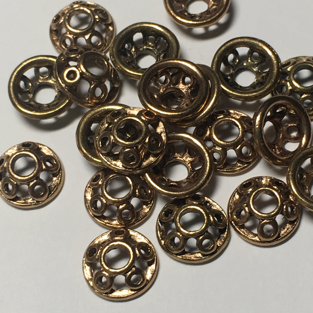Antique Gold Bead Caps, 10 mm - 20 Caps