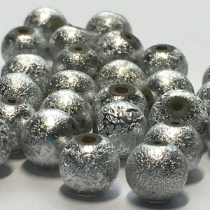 Silver Stardust Acrylic Round Beads, 6 mm - 38 Beads