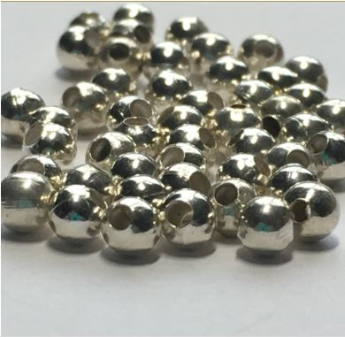 Silver Plated Large and Small Hole Beads Mix, 3 mm, 50 Beads