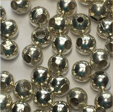 Load image into Gallery viewer, Silver Plated Large and Small Hole Beads Mix, 3 mm, 50 Beads