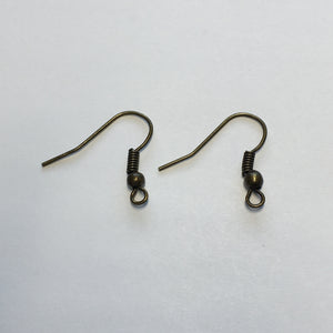 22-Gauge 18 mm Antique Brass French Fish Hook Ear Wires - 1 Pair