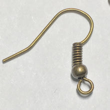 Load image into Gallery viewer, 22-Gauge 18 mm Antique Brass French Fish Hook Ear Wires - 1 Pair