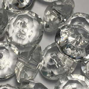 Clear Glass Faceted Saucer Beads, 4 x 8 mm - 25 Beads