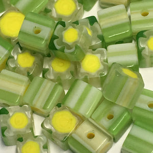 Green and Yellow Millefiori Glass Cube / Square Beads, 4 mm, 20 or 25 Beads