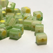 Load image into Gallery viewer, Green and Yellow Millefiori Glass Cube / Square Beads, 4 mm, 20 or 25 Beads