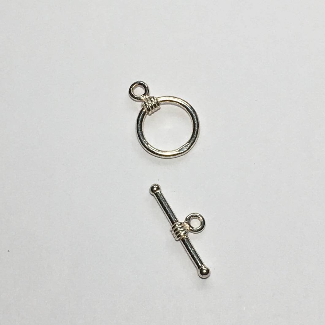 Silver Barbell Toggle Clasp, 18 mm