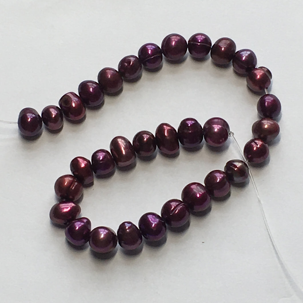 Wine Baroque Pearls, Side-Drilled, 5 x 6 mm, 32 Pearls