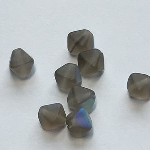 Gray Frosted AB Glass Bicone Beads, 6 mm, 8 Beads