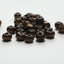Load image into Gallery viewer, Brown Wood Rondelle Beads, 3 x 4.5 mm, 36 or 50 Beads