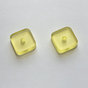 Translucent Yellow Acrylic Square Flat Center-Drilled Beads, 14 x 5 mm - 2 Beads