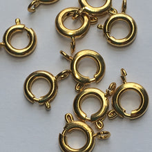 Load image into Gallery viewer, Gold Spring Ring Clasp, 7 mm, 1 or 10 Clasps