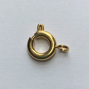 Gold Spring Ring Clasp, 7 mm, 1 or 10 Clasps