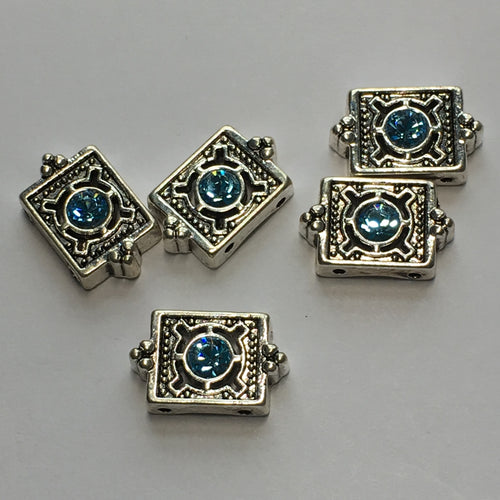 Silver Two-Strand Rectangle Slider Beads with Blue Swarovski Crystal, 9 x 15 x 4 mm, 5 Beads