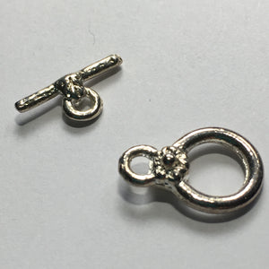 Silver Flower Theme Toggle Clasp,  13 mm