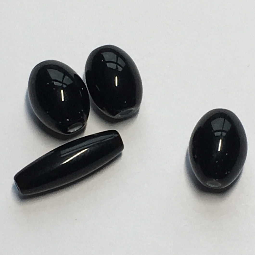 Opaque Black Oval and Tube Glass Lampwork Beads, 16 x 5 mm & 11 x 8 mm, 4 Beads