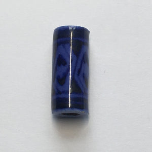 Blue Patterned Ceramic Tube Focal Bead, 22 x 10 mm