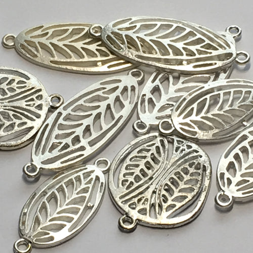 Silver Leaf Beads and Pendants, 40 x 15 mm, 32 x 15 mm, 28 x 24 mm
