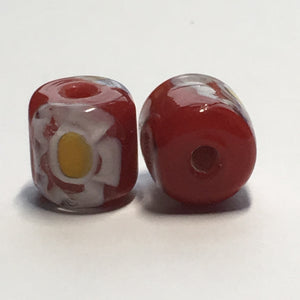 Opaque Red Glass with Yellow Flower Lampwork Glass Barrel Beads, 10 mm x 10 mm, 2 Beads