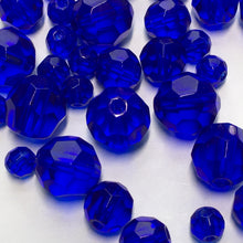 Load image into Gallery viewer, Transparent Cobalt Blue Faceted Round Glass Beads, 4, 6 and 8 mm, 31 Beads for Bracelet