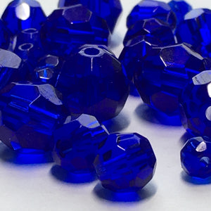 Transparent Cobalt Blue Faceted Round Glass Beads, 4, 6 and 8 mm, 31 Beads for Bracelet