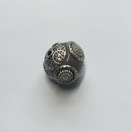 Silver Metal and Opaque Gray Glass Round Focal Bead, 15 x 17 mm