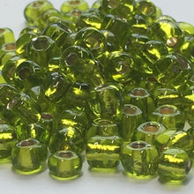 Load image into Gallery viewer, 6/0 Transparent Lime Green Silver Lined Seed Beads, 10 gm