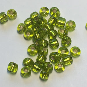 6/0 Transparent Lime Green Silver Lined Seed Beads, 10 gm