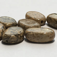 Load image into Gallery viewer, Picture Jasper Semi-Precious Stone Oval Flat Beads, 12 x 7 x 3 mm, 8 Beads