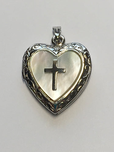 .925 R Sterling Silver Heart Shaped Picture Locket with Cross on Mother of Pearl Base, 25 x 20 x 5 mm, Excellent Condition - Never Worn