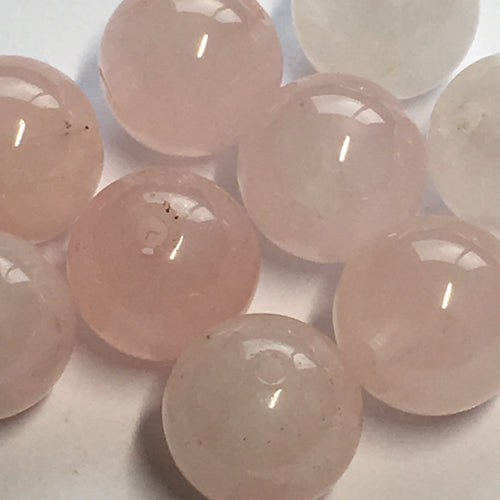 Rose Quartz Semi-Precious Stone Round Beads, 10 mm, 11 Beads