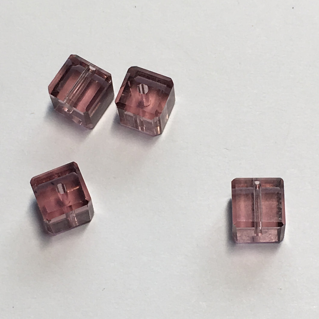 Transparent Purple Glass Faceted Cube / Square Beads, 6 mm, 4 Beads