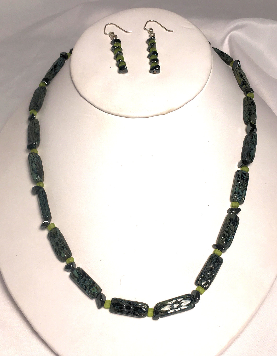 Czech Black/Green Pressed Flower Beads and Hematite Chip Necklace and Earring Set