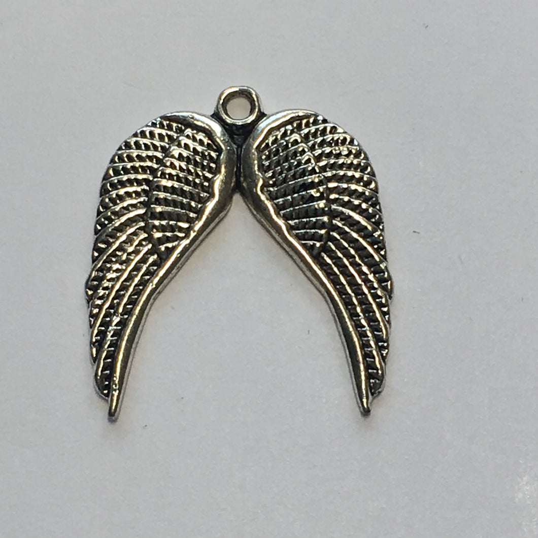 Antique Silver Angel's Wings Charm, 21 x 19 mm