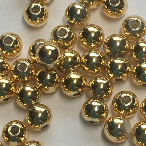 Gold Plated Acrylic Round Beads, 4 mm - 50 Beads